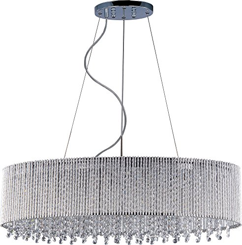 ET2 E23144-10PC, Spiral Crystal 1 Tier Chandelier Lighting, 6 Light, 240 Total Watts Xenon, Chrome (Spiral Billiard Light)