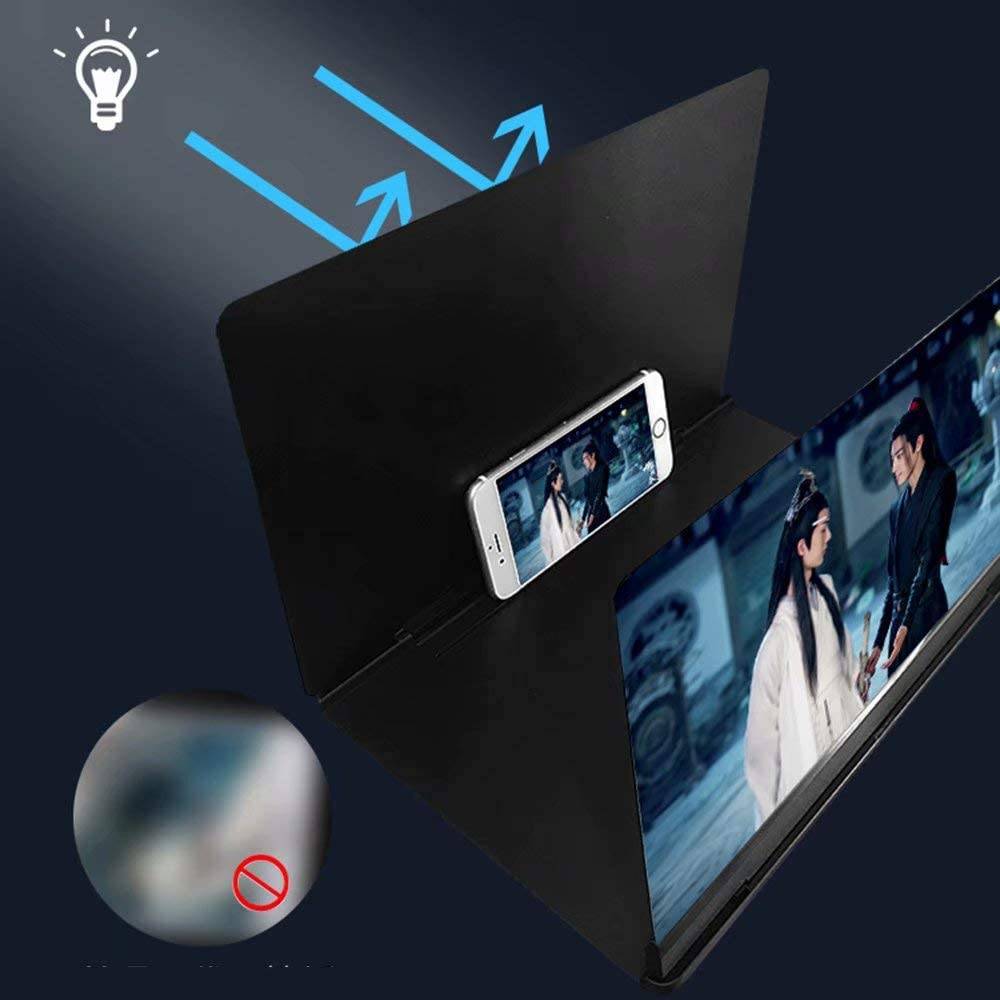 QSs-Ⓡ Mobile Screen Magnifier 14 3D HD Mobile Phone Screen Amplifier Foldable Desktop Stand Holder Portable Home for All Smart Phone