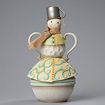 River s End Snowman with Tin Cup Hat, Figurine