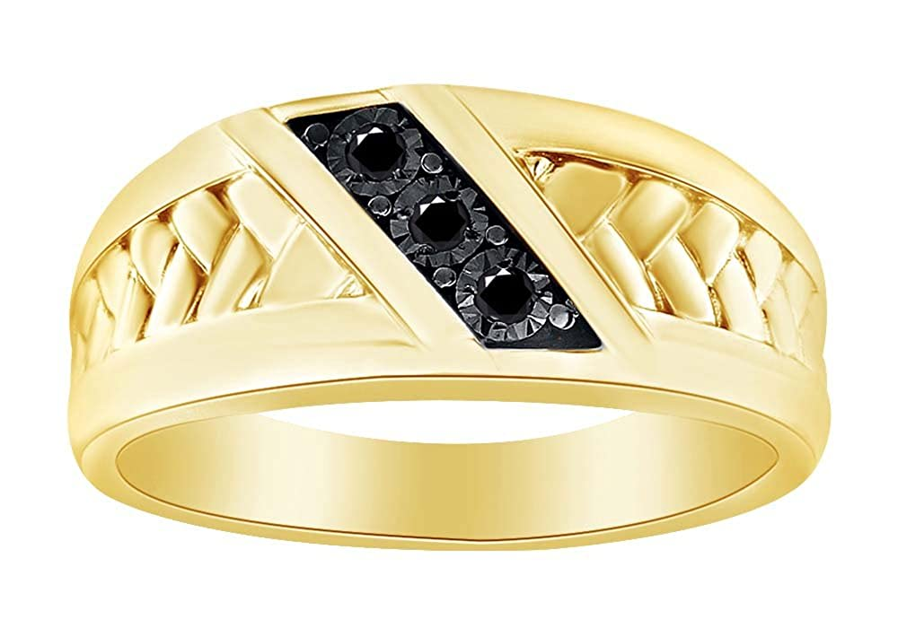 Wishrocks 14K Gold Over Sterling Silver Diamond Accent Mens Anniversary /& Wedding Band Ring