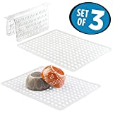 mDesign Kitchen Sink Protector Mat Pad Set, Quick Draining - Use In Sinks to Protect Surfaces and Dishes - 3 Piece Combo Set includes 1 Sink Saddle, 2 Large Sink Mats - Set of 3, Clear