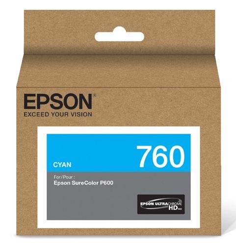 Epson T760220 UltraChrome HD Cyan Standard Capacity Cartridge Ink