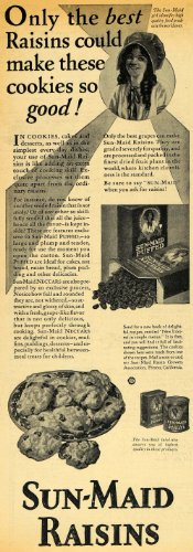 1929 Ad Sun-Maid Raisin Girl Oatmeal Cookie Dried Fruit - Original Print Ad