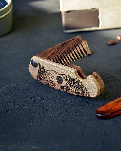 Foldingу wooden Beard Comb Engraved Skull Moustache Walnut Man Hair Custom Boyfriend Husband Mustache