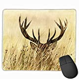 Mouse pad Pink and Gold,Antler Decor Whitetail Deer Fawn in Wilderness Stag Countryside