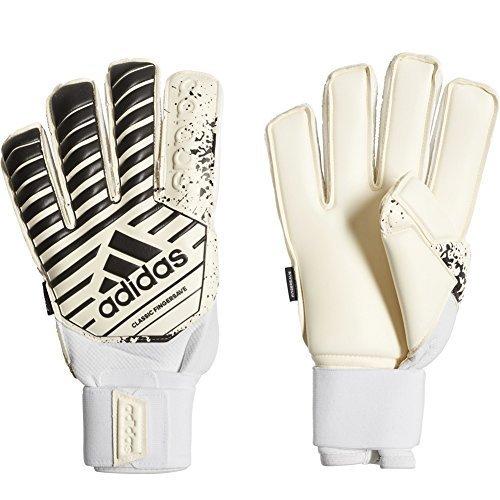 adidas Classic Fingersave Soccer Goalkeeper Gloves White/Black Size 8 (Fingersave Gloves)