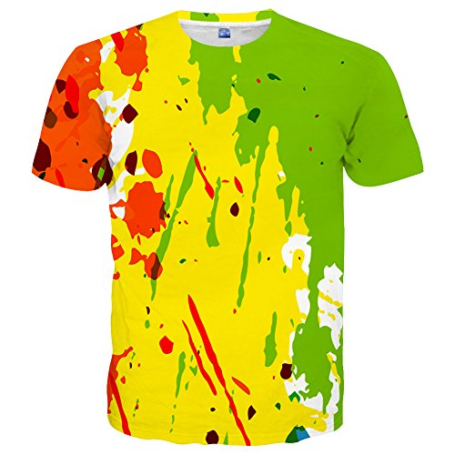 Neemanndy Unisex Youth Teens Yellow and Green Cool Short Sleeve Summer Tee Shirts Print 3D Tops, Small ()