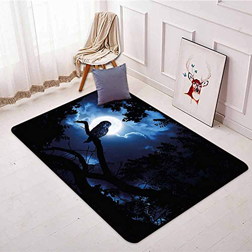 Skid-Resistant Rug,Night,Quiet Night in The Woods Full Moon Tall Trees and Owl on Branch Tranquil Scene,Large Area mat,3'3