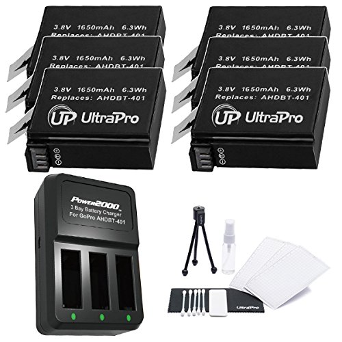 6-Pack AHDBT-401 High-Capacity Replacement Batteries with Rapid 3-Channel Charger for GoPro Hero4. Also Includes: UltraPro Bundle Includes: Camera Cleaning Kit, Screen Protector, Mini Travel Tripod by UltraPro