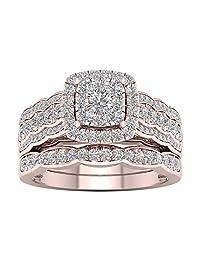 De Couer 10k Rose Gold 1ct TDW Diamond Cluster Halo Bridal Set (H-I, I2)