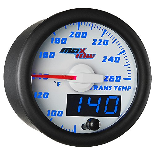 MaxTow Double Vision 260 F Transmission Temperature Gauge Kit - Includes Electronic Sensor - White Gauge Face - Blue LED Illuminated Dial - Analog & Digital Readouts - for Trucks - 2-1/16