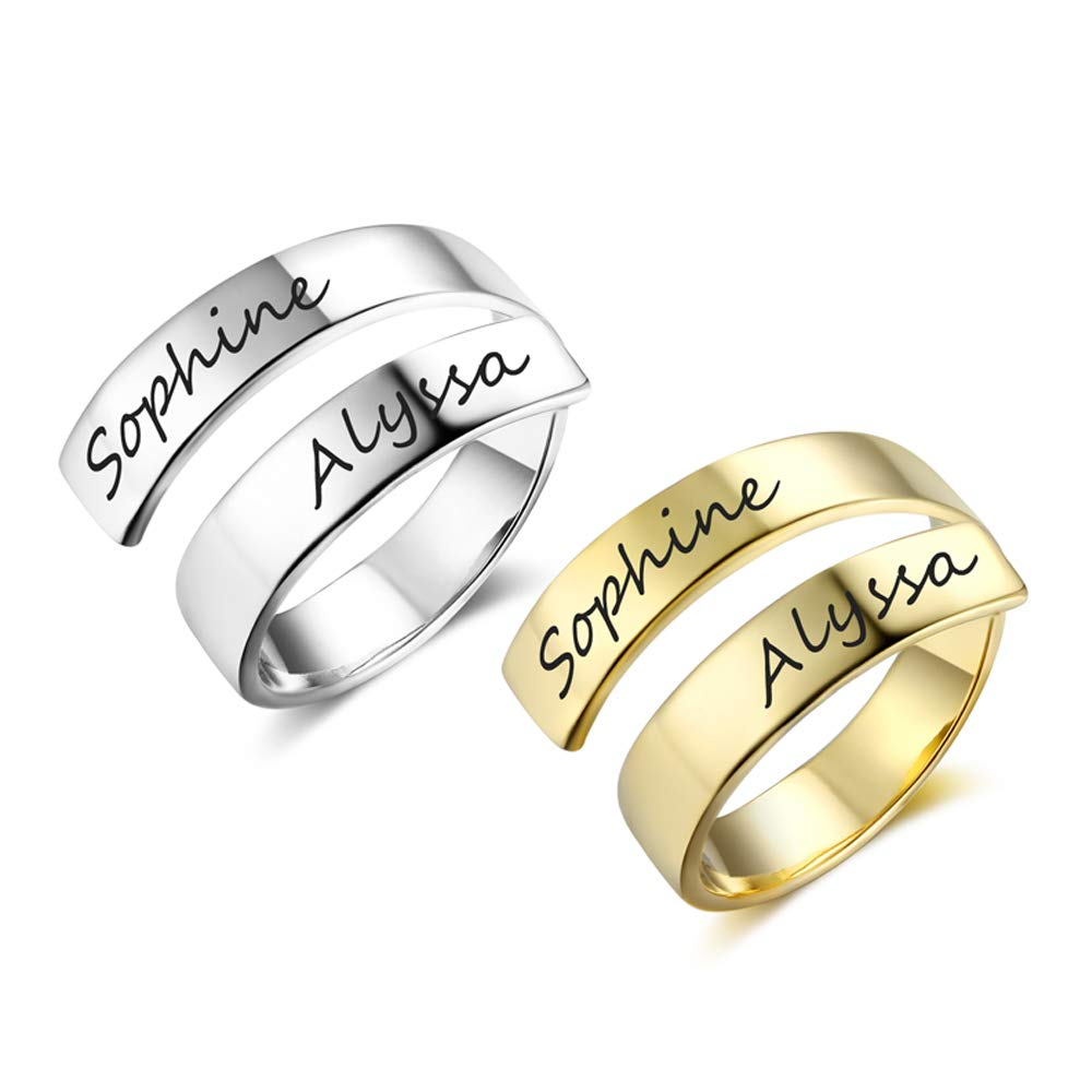 Love Jewelry Personalized Spiral Twist Ring Engraved Names BFF Personalized Gift Mother-Daughter Promise Ring Her £¨Silver + Gold