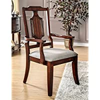 Furniture of America CM3875AC-2PK Stevensville Arm Chair Set of 2 Dining