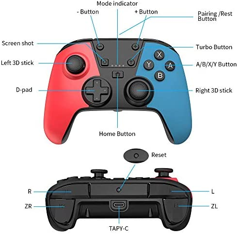 [Newest Version] Wireless Controller for Switch, RegeMoudal Professional Controller Remote Gamepad Joystick for Switch Console with Turbo Function, Double Vibration and Gyro Axis
