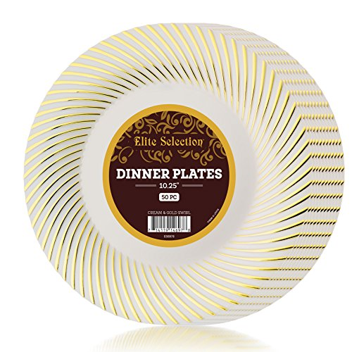 Elite Selection Pack of 50 Dinner Plates Ivory Cream Color With Gold Swirl 10.25-Inch