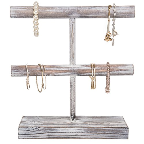 MyGift Rustic 2-Tier Torched Wood T-Bar Jewelry Display Rack, Bracelet & Watch Organizer by MyGift (Image #2)