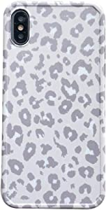 Cold Gray INS Leopard Print Soft Case for Apple iPhone X XS with Fashion Frame Cute Design Skin Cellphone Accessories Protective Cover for iPhone X & XS Cases