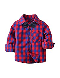 Jwhui Baby Kids Red Plaid Bow Tie Shirt Boys Children Toddler Cotton Long Sleeve Tops Clothes Outwear