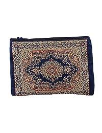 Unique Woman Coin Purse - Card Case - Floral Design - Fabric Oriental Rug (Blue)