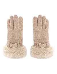 MATSU Women Lady's Wool Knit Lace Bow Winter Warm Gloves Hand Warmer GCG208