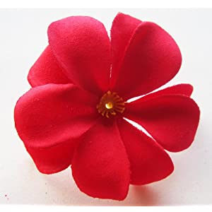 "(100) Red Hawaiian Plumeria Frangipani Silk Flower Heads - 3"" - Artificial Flowers Head Fabric Floral Supplies Wholesale Lot for Wedding Flowers Accessories Make Bridal Hair Clips Headbands Dress 4"