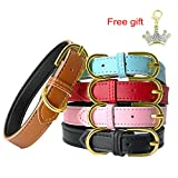 Leather Dog Collar - PET ARTIST Pink Classic Soft Padded Leather Dog Collar for Small& Medium Dogs
