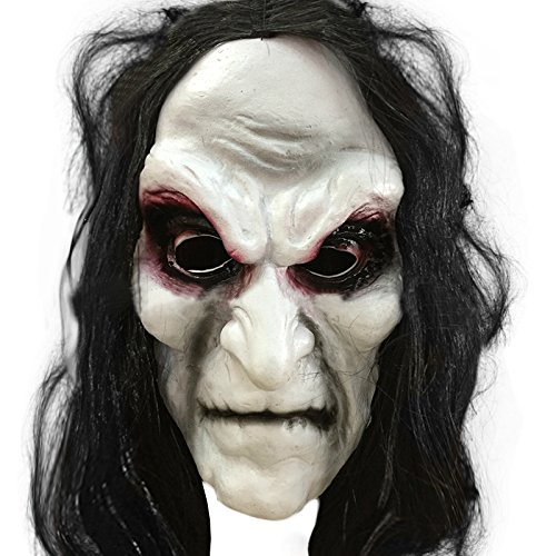 [Rubility Ghost Mask Halloween Long Hair Zombies Party Mask Halloween Gift Black] (Group Office Halloween Costumes)