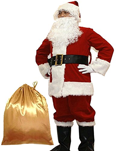 Potalay Men's Deluxe Santa Suit 10pc. Christmas Adult Santa Claus Costume (X-Large) Red