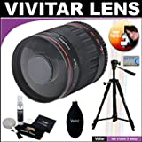 Vivitar 500mm f/8.0 Series 1 Multi-Coated Mirror Lens + Vivitar Tripod + Vivitar Cleaning Kit For The Olympus Evolt E-30, E-300, E-330, E-410, E-420, E-450, E-500, E-510, E-520, E-620, E-1, E-3 Digital SLR Cameras
