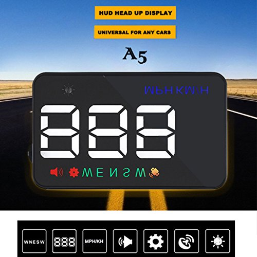 Goodqueen A5 GPS HUD Head Up Display with Km/h MPH Digital Speed Warning Alarm 3.5 inch