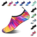 Mens Womens Water Shoes Barefoot Beach Pool Shoes Quick-Dry Aqua Yoga Socks for Surf Swim Water Sport (Colorful, 36/37EU)