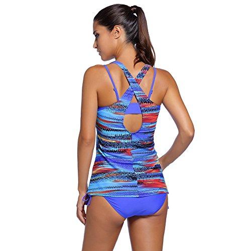 Erica Bikinis de la playa de las mujeres de los deportes Tres pedazos fijaron el traje de baño Impresión de color sólido Sujetador acolchado sin hilos Blue
