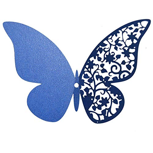 wing 12Pcs Pearl Paper Butterfly Wall Stickers Half-Hollow Colorful Wall Sticker for Wedding Party Room Decoration for Kids Room,Blue