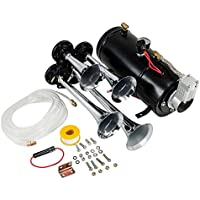 Hex Autoparts Quad 4 Trumpet 150DB Train Air Horn Kit...