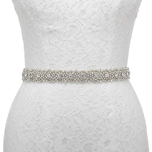 AW Elegant Wedding Belt Clear Rhinestone Bridal Sash for Women Party Evening Prom Bridesmaid Dress, White