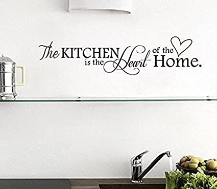 Adesivi Murali Frasi The Kitchen Is The Heart Of The Home Stickers ...