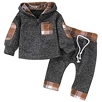 SANMIO Infant Toddler Baby Boys Girls Hoodie Outfit Plaid Pocket Sweatshirt Jackets Shirt+Pants Clothes Set for Kids - Brown - 12-18 Months