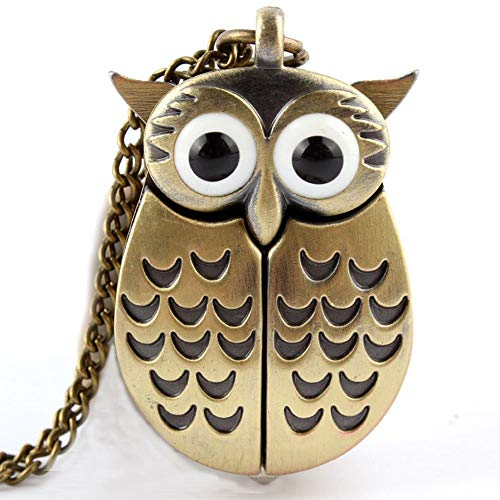 Vintage Cute Owl Quartz Pocket Watch |with Fob Chain Necklace Clock |Women Men 3D Animal Canada Owl Small Gift for Friend Birthday ()