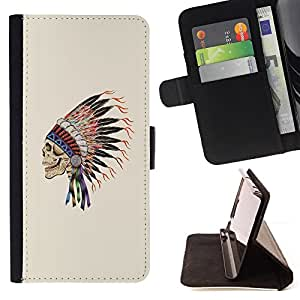 BullDog Case - FOR/Samsung Galaxy Core Prime / - / INDIAN HEADGEAR FEATHERS CHIEF NATIVE /- Monedero de cuero de la PU Llevar cubierta de la caja con el ID Credit Card Slots Flip funda de cuer