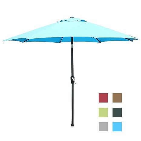 Genial Blissun 9u0027 Outdoor Market Patio Umbrella With Auto Tilt And Crank, 8 Ribs (