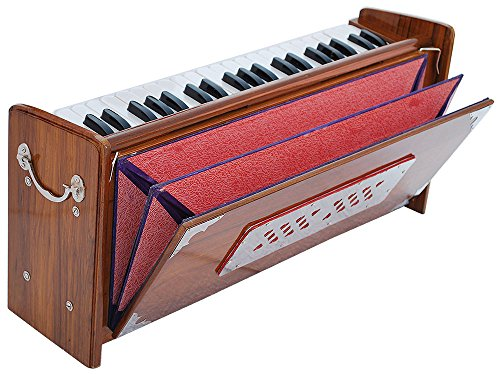 Harmonium Dulcetina Teak Wood By Kaayna Musicals, Compact Size, Easy to Carry, 3½ Octave, Natural Wood Color, Gig Bag, Bass/Male Reed- 440 Hz, Suitable for Yoga, Bhajan, Kirtan, Shruti, Mantra, etc by Kaayna Musicals