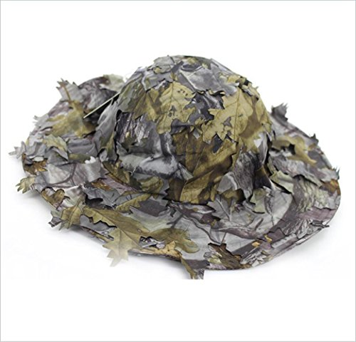 (SUNRIS 3D Leaves Boonie Flat Hats Jungle Woodland Camo Snipers Men Airsoft Tactical Hunting Sunshade)