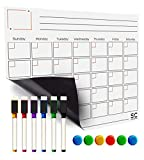 Magnetic Calendar and Weekly Planner - Dry Erase Board with 5 Erasable Liquid Chalk Markers. White Board Calendar for Fridge. Schedule Calendar for to-Do Lists, Menus & More by Stone & Clark