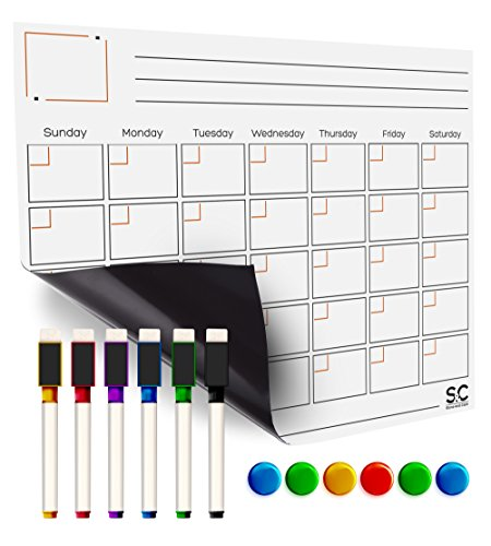Erasable Planner (Magnetic Dry Erase Calendar And Weekly Planner. White Board With 5 Erasable Liquid Chalk Markers. Dry Erase Laminated Calendar for Fridge. Schedule Board for To-Do Lists, Home, Office, School and More)