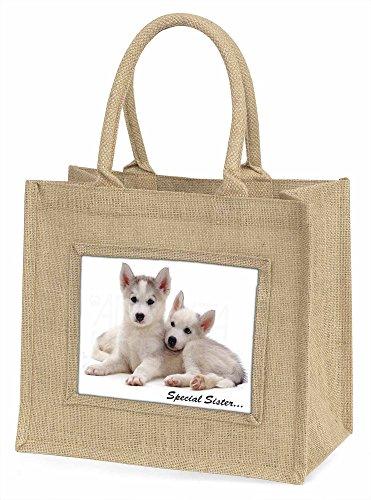 Advanta Huskies Special Sister Sentiment Große Einkaufstasche/Weihnachten Geschenk, Jute, beige/natur, 42x 34,5x 2cm