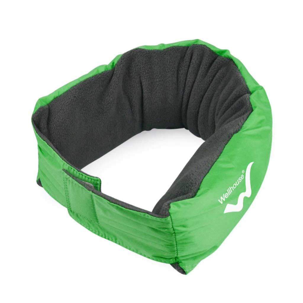JSFQ U-Shaped Pillow Outdoor Travel Portable U-Shaped Pillow Inflatable Neck Pillow Foldable Removable Pillow Four Eye Colors Optional U-Shaped Pillow (Color : Green)