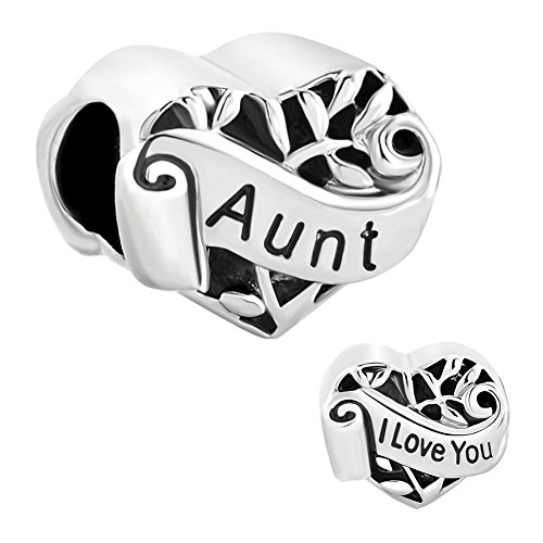 CharmSStory Silver Plated Grandma/Wife/Sister Heart I Love You Beads For Bracelets (Aunt)