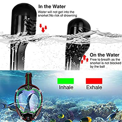 FEIYU CREATIVE Anti-UV Dual Snorkel Mask Diving Mask for Adults & Kids, 180°Full Face Snorkel Kit w/Adjustable Belt and Gopro Mount, Perfect for Swiming Skin Diving