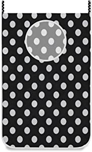 SLHFPX Hanging Laundry Hamper Bag Black White Polka Dot Door/Wall/Closet Hanging Large Laundry Bag Basket for Dirty Clothes Storage Organizer,with 2 Hooks,Space Saving for Dorm,Small Room