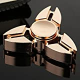 #3: Hand Spinner, Bekhic Pro Metal Fidget Tri-Spinner Toys Stress Reducer Ceramic Bearing - Perfect For ADD, ADHD, Anxiety, and Autism Adult Children … (Golden)